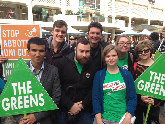 Scott with Greens' supporters