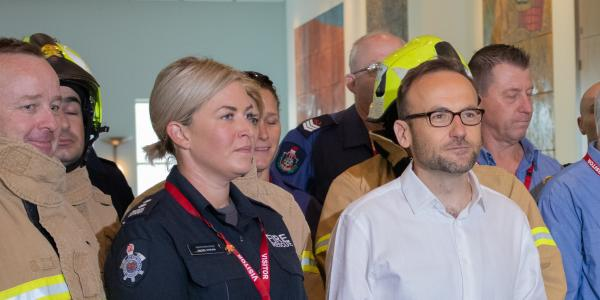 Senior Station Officer, Rachel Cowling and Greens Leader Adam Bandt lead a press conference announcing the Greens plan to double the amount of paid firefighters